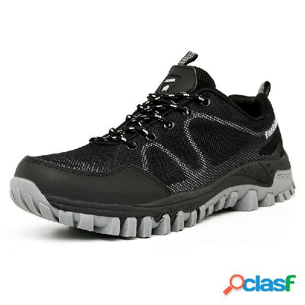 Hombres tela de malla de empalme antideslizante al aire libre zapatillas de senderismo