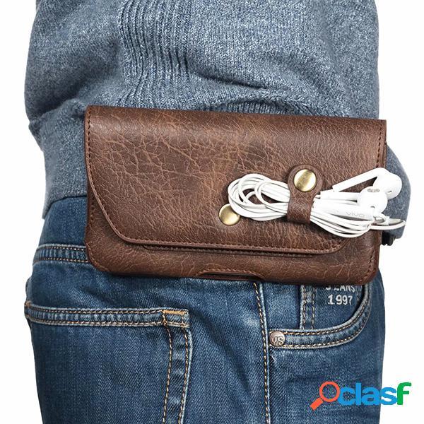 Hombre edc leather 6.3 inch clip para soporte de teléfono caso cinturón bolsa crossbody bolsa