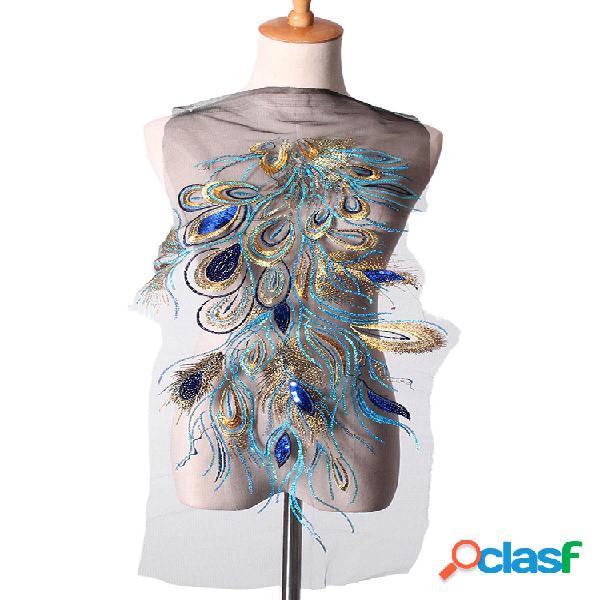Parches de apliques de plumas de pavo real con lentejuelas, adornos de costura para mujer vestido, decoración de ropa diy, accesorios