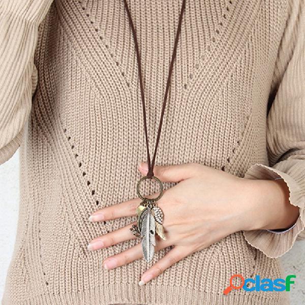 Vendimia rhinestone pluma suéter largo cadena metal melocotón corazón colgante collar joyería de moda