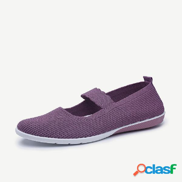 Mujer knitted comfy antideslizante soft zapatos deportivos mary jane sole dance