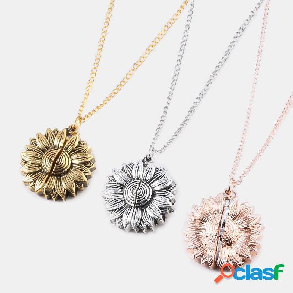 Vendimia collar especial con letras dobles de girasol you are my sunshine open colgante collar
