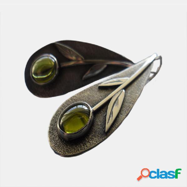 Vendimia metal hoja esmeralda verde oliva pendientes gota de agua geométrica pendientes joyería étnica