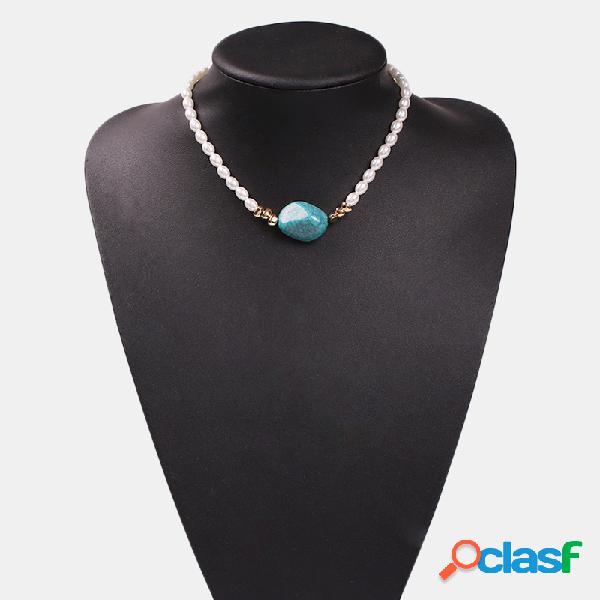 Vendimia perla turquesa colgante collar collar de resina transparente irregular joyería étnica