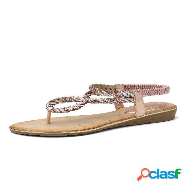 Zapatos planos de diamantes de imitación con correa de punto con punta de clip para mujer zapatillas