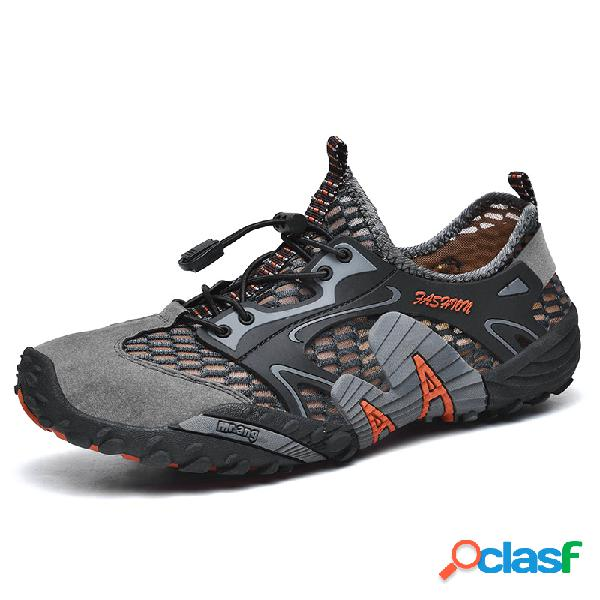 Hombres malla antideslizante secado rápido cordón elástico al aire libre zapatillas casuales