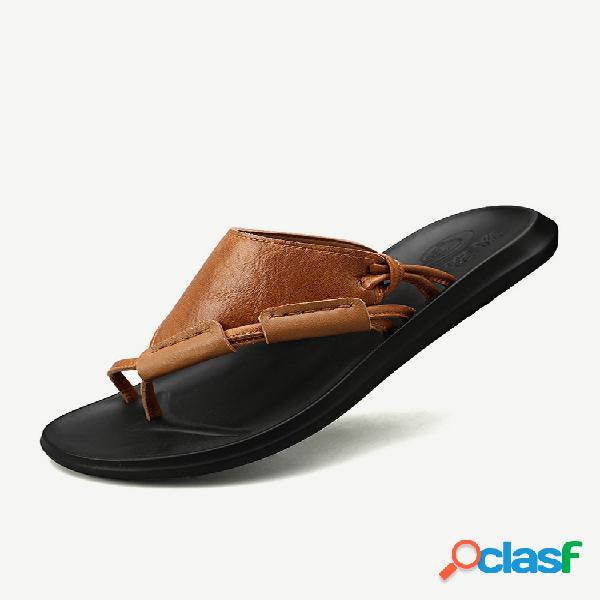 Hombre punta de clip en piel de microfibra zapatillas soft playa agua sandalias