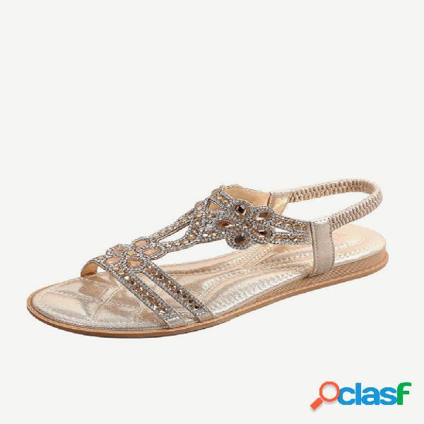 Mujer soft resbalón con suela en flores de diamantes de imitación comfy sandalias
