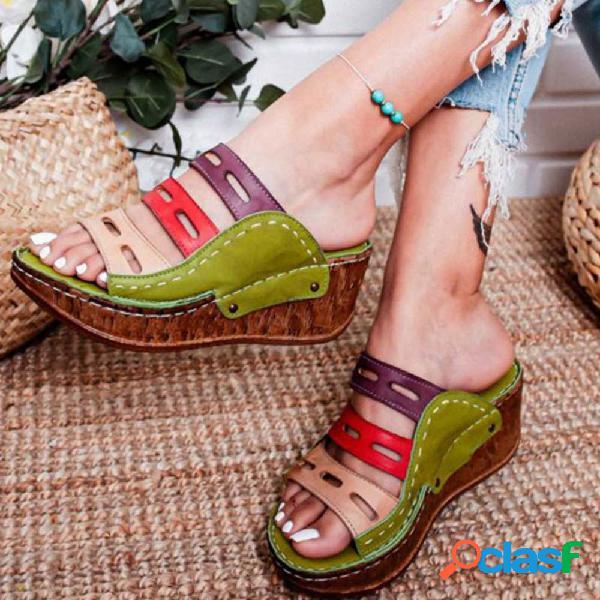 Mujer Triple Banda Cuñas huecas cómodas con plataforma portátil zapatillas