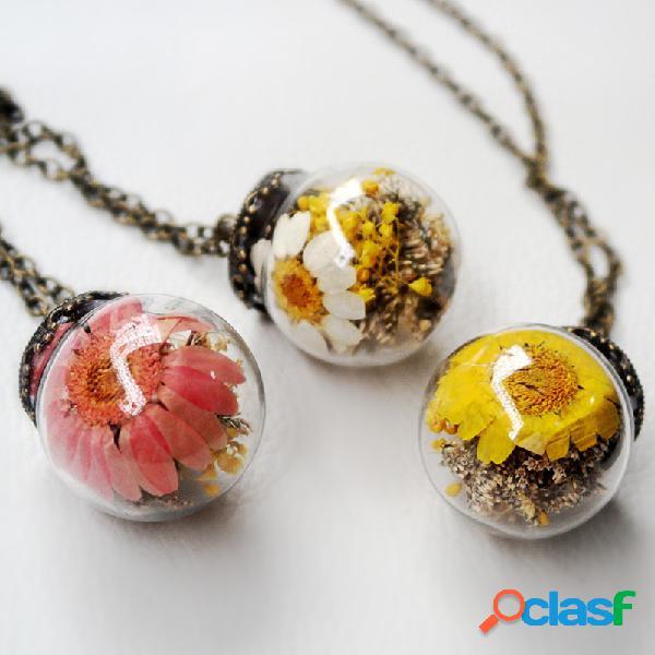 Vendimia margarita collar de bola de cristal transparente flor seca hecha a mano colgante collar largo