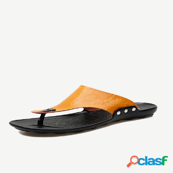 Hombres clip toe soft chanclas de cuero ecológicas