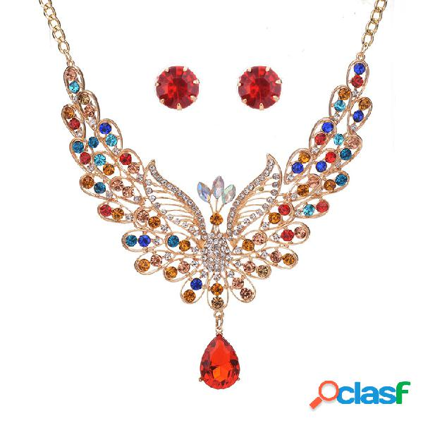 Elegante conjunto de joyas para mujer de pavo real lujo colorido rhinestone para aves colmillo de animal pendientes colgantes