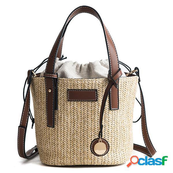 Paja playa bolsa cubo bolsa bolso hombro bolsa para mujer