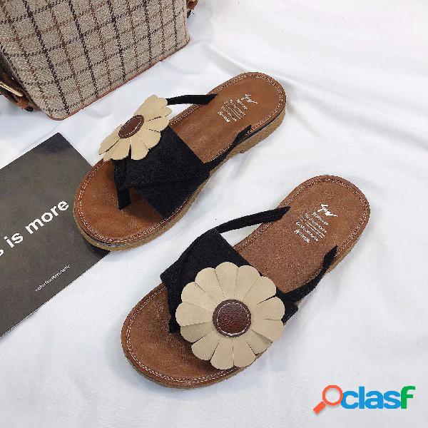 Chanclas de fondo plano para mujer playa zapatos