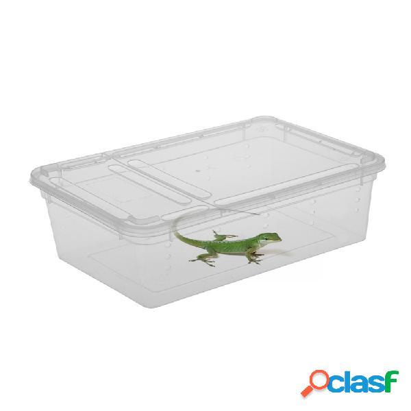 Plástico plástico caja insecto reptil transporte reproducción alimentación caso tina para incubar 1.3l