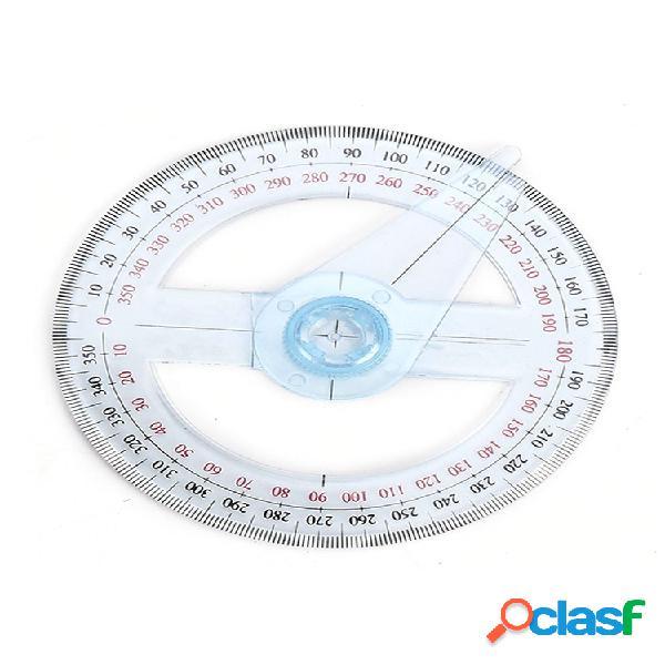 Plástico regla transportadora de 360 grados escuela buscador de ángulo de oficina brazo oscilante 10 cm