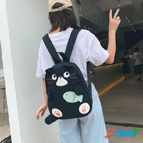 Hombro bolsa de lona patrón de dibujos animados hombros de estudiante campus salvaje estilo harajuku pequeño bolso de tela lindo fresco