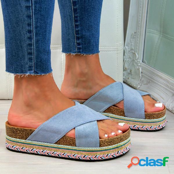 Mujer casual cross banda peep toe platform zapatillas