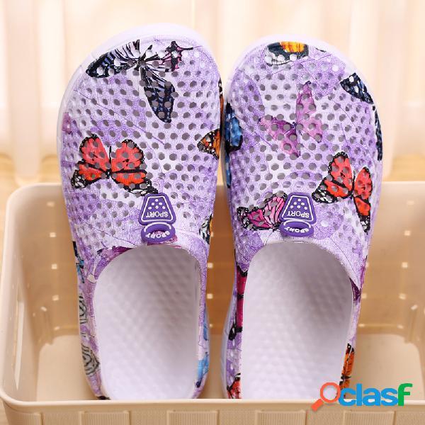 Mujer casual playa hueco transpirable soft mariposa sin respaldo zapatillas