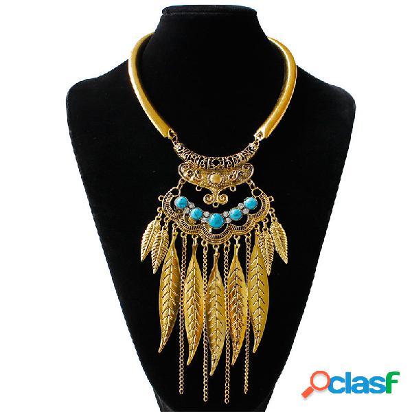 Collar Llamativo Vintage Turquesa Hojas Cadenas Borlas Collar Colgante Joyería Étnica para Mujeres