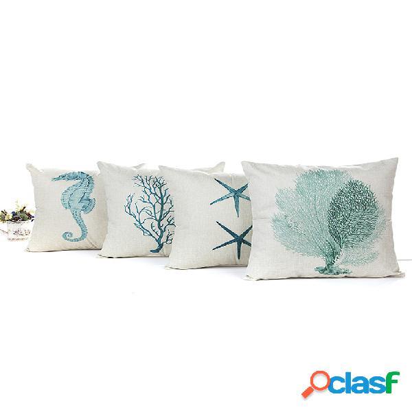 Funda de cojín de lino de algodón con estrellas de mar de Blue Sea House Square Soft Funda de almohada decorativa