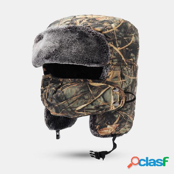 Hombre camuflaje invierno cálido Lei Feng Sombrero algodón polar grueso a prueba de viento ciclismo esquí cara Mascara gorra