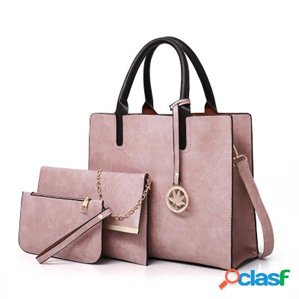 Mujer vendimia 3pcs bolso hombro bolsa tarjeta embrague bolsa