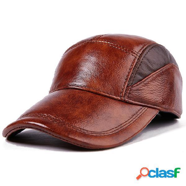 Cuero sombrero cuero nuevo para hombres sombrero cuero para hombres sombrero casual al aire libre gorra de béisbol ajustable