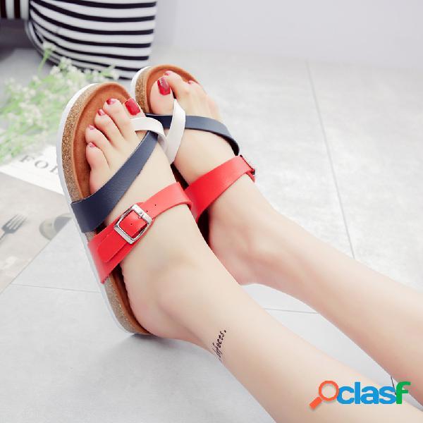 Mujer cómodo soft hebilla clip de empalme punta plana zapatillas