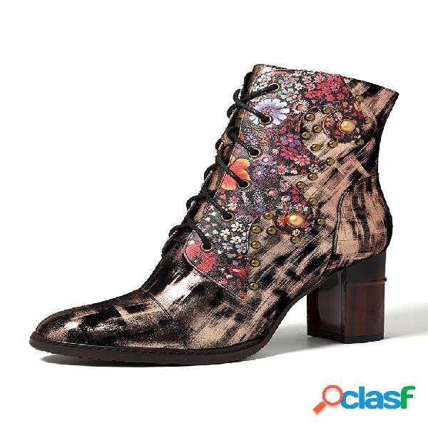 Socofy comfy bohemia piel genuina flor de textura de metal patrón remache cremallera tacón alto tobillo botas