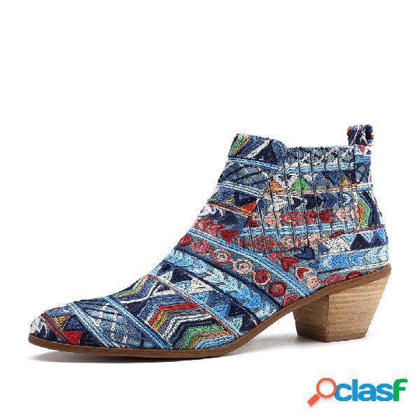 Socofy bohemia weave patrón tela elástica sin cordones banda soft tobillo botas