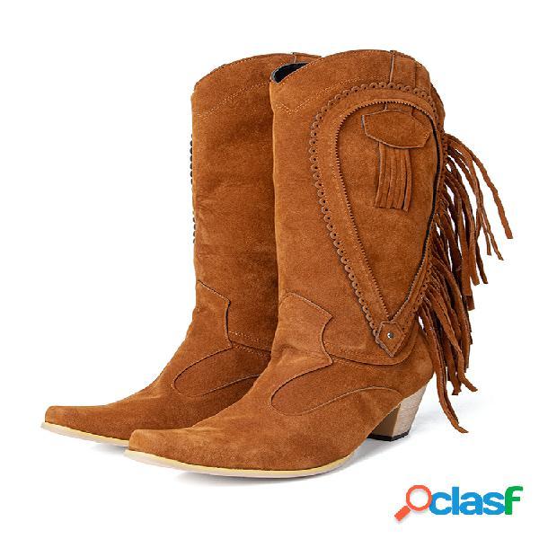 Mujer plus talla punta puntiaguda borla tacones gruesos vaquero a media pierna botas