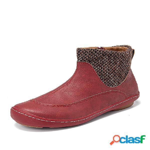 Plus talla mujer cómodo empalme punta redonda cremallera corta desert botas