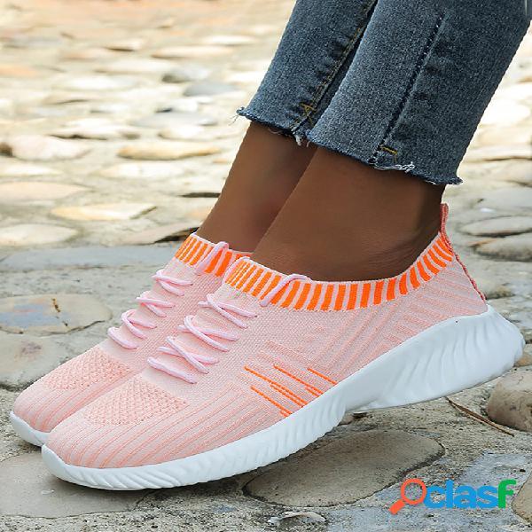 Plus tamaño mujer zapatos para caminar ligeros de punto de malla transpirable