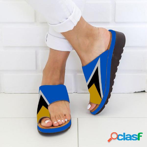 Plus tamaño mujer cuñas ocasionales ortopédicas para juanetes con clip y cuñas sandalias