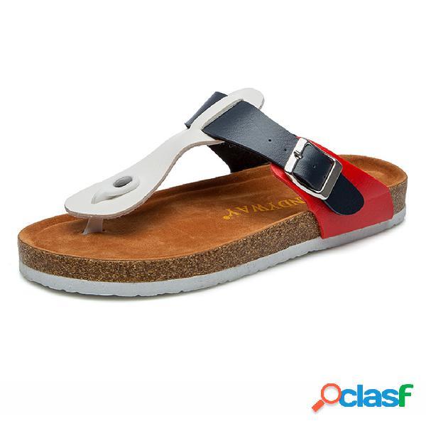 Mujer cómodo soft playa correa t hebilla deslizante plana zapatillas