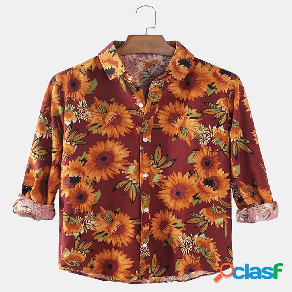 Hombres vendimia sunflower print daily designer camisas de manga larga