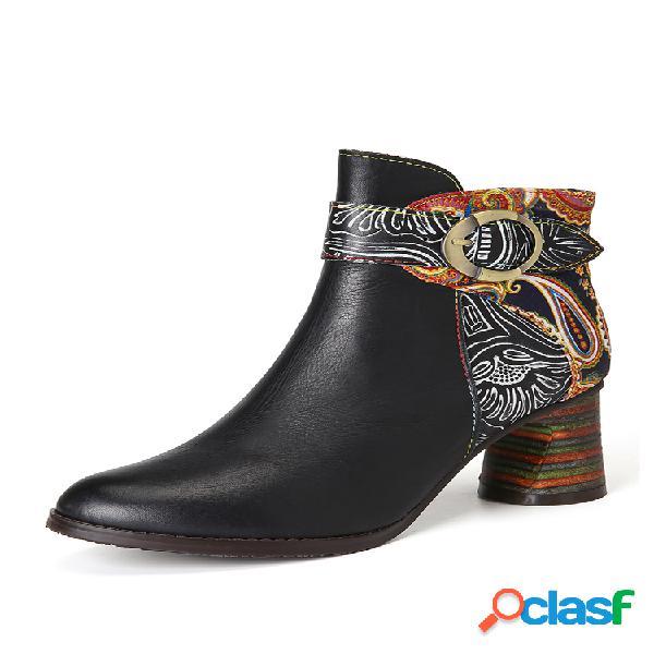 Socofy tobillo hebilla correa decoración retro floral estampado empalme cuero cómodo tacón grueso tobillo botas