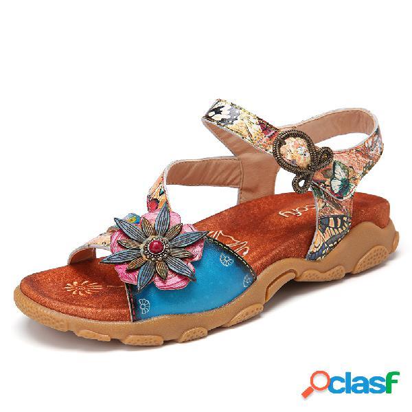 Socofy flor bohemia decro butterfly patrón gancho lazada punta abierta casual cómodo plano sandalias