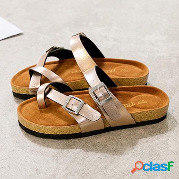 Más el tamaño mujer casual playa correa de hebilla con cierre superior soft zapatillas