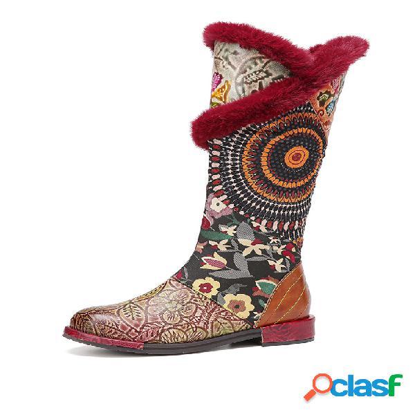 Socofy bordado floral de felpa bohemia piel genuina media pantorrilla con forro calentado botas