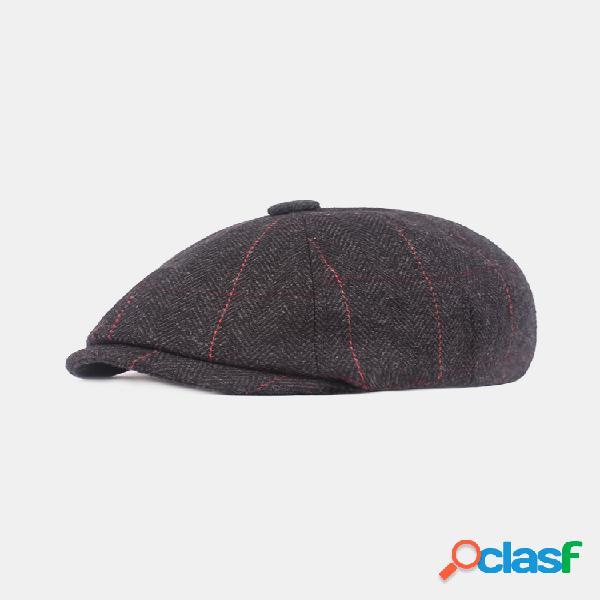 Hombres vendimia rayas engrosamiento ajustable algodón cálido transpirable cómodo boina gorra