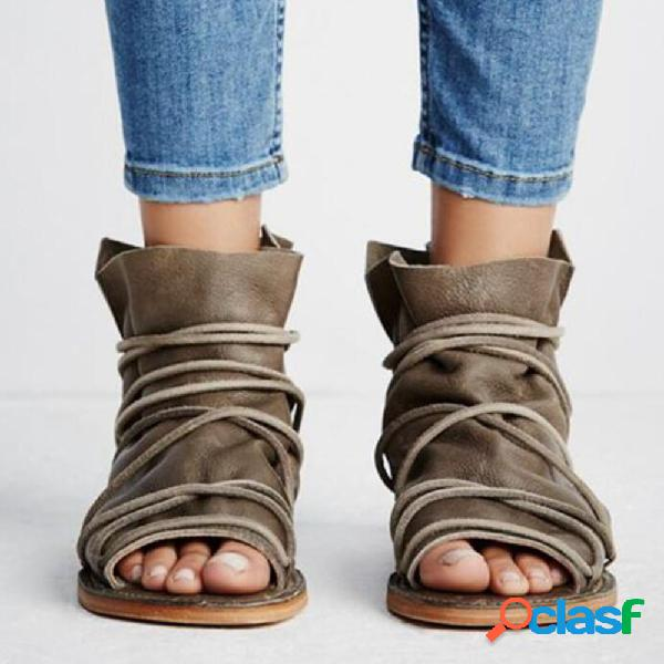 Mujer casual open peep toe lace strap high top flat sandalias
