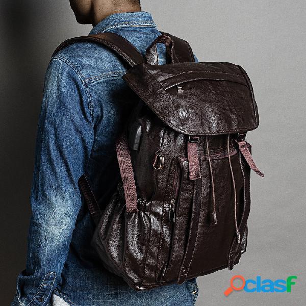 Hombres pu cuero funcional mochila universal portátil mochila