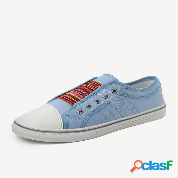 Zapatos planos vulcanizados de lona casual de gran tamaño mujer