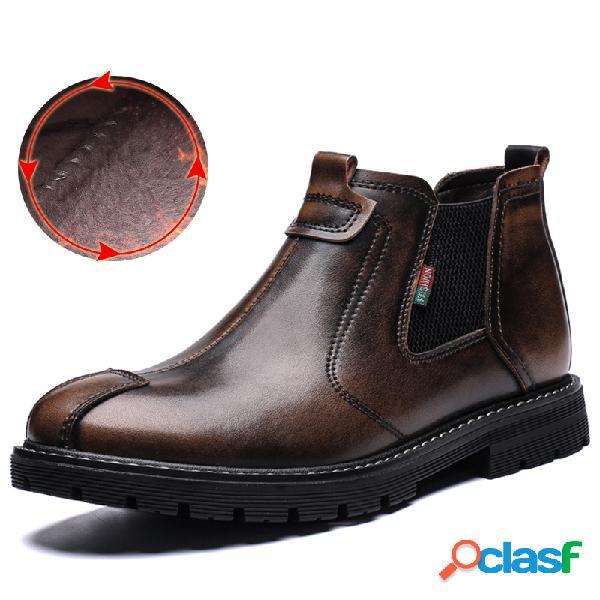 Hombres retro cuero de vaca forro antideslizante forro elástico paneles casual botas