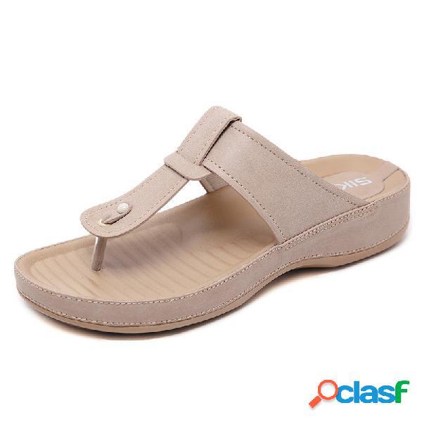 Color sólido filp flops t shape playa verano zapatillas