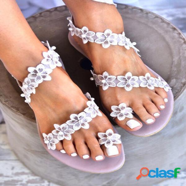 Mujeres Sweet Lace Flowers Decor Comfy Clip Toe Playa Sandalias