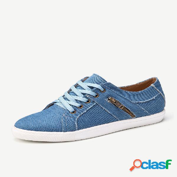 Plus tamaño mujer retro zipper decor canvas lace up zapatos casuales planos