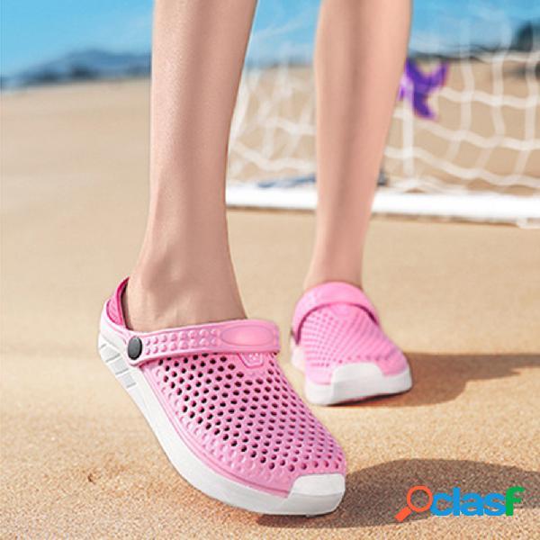 Mujer cómodo playa respirable hueco 2 en i slingback sandalias